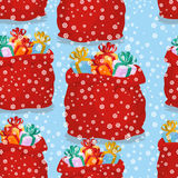 Bag with gifts seamless pattern. Christmas background red sack S Stock Photo