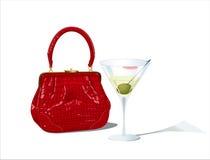 Bag & glass of martini. Red crocodile bag and unfinished martini glass - vector illustration Stock Photo