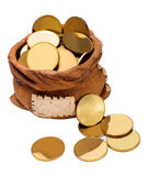 Bag of gold coins Royalty Free Stock Photography