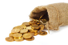 Bag with gold coins Stock Photo