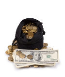 Bag of gold coins and dollars Royalty Free Stock Image