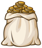 Bag with gold coins Royalty Free Stock Photo