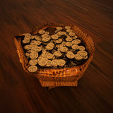 Bag of gold money over wooden background Stock Images