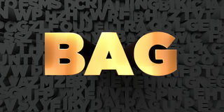 Bag - Gold text on black background - 3D rendered royalty free stock picture Stock Photos