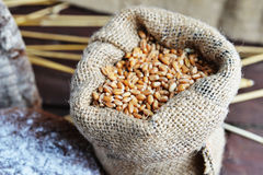 Bag with grain Royalty Free Stock Photography