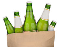 Bag with green beer. Bottles isolated on white background Royalty Free Stock Photos
