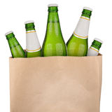 Bag with green beer. Bottles isolated on white background Stock Images