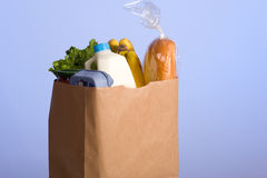 Bag of Groceries on blue Royalty Free Stock Photos