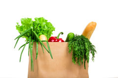 Bag with groceries isolated Stock Images