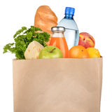 Bag of groceries. Isolated on white background stock photos