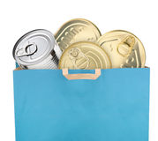 Bag of groceries. Isolated on white background Royalty Free Stock Image