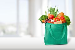 Bag Groceries. Recycling Environment reusable Green Canvas stock photos