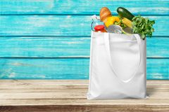 Bag. Groceries Recycling Environment reusable Green Canvas Stock Photos