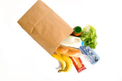 Bag of Groceries on WHite Stock Images