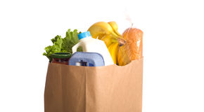 Bag of Groceries on WHite Stock Photography
