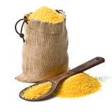 Bag of ground corn Royalty Free Stock Photos