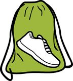Bag for gym shoes. Icon for design. Illustration Royalty Free Stock Photo