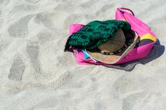 Bag hat on the sand beach. Bag hat on sand beach in summer stock photography