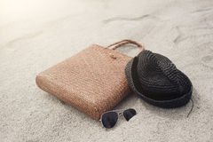 Bag, hat and sunglasses Royalty Free Stock Photos