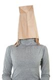 Bag on head. Woman with paper bag on head stock photography