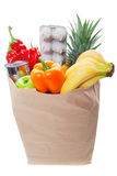 Bag of healthy fruits and vegetables Stock Image