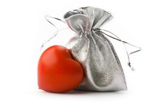 Bag and heart Royalty Free Stock Images