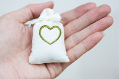 Bag with heart symbol Royalty Free Stock Photo