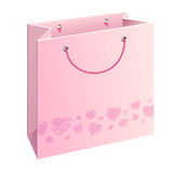 Bag with hearts. A shopping bag with pink water-colour hearts Stock Images