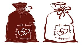Bag with hearts, silhouette, set Royalty Free Stock Photography