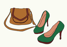 Bag and high heels. Green high heels and brown bag Royalty Free Stock Photography