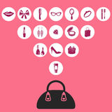 Bag icon. Vector illustration of feminine icons with the bag Royalty Free Stock Photo