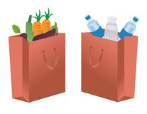 Bag icons. Shopping Bags Illustration with Items Stock Illustration
