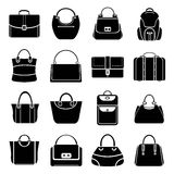 Bag icons. Set of 16 bag icons stock illustration