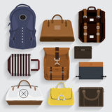Bag. Icons bagsleather , fabric, folder in vector style Stock Photos
