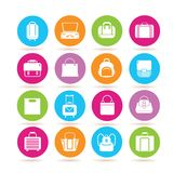 Bag icons. Collection of 16 bag icons in colorful buttons royalty free illustration