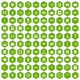 100 bag icons hexagon green. 100 bag icons set in green hexagon isolated vector illustration Royalty Free Stock Photography