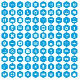 100 bag icons set blue. 100 bag icons set in blue hexagon isolated vector illustration Stock Photos
