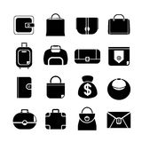 Bag icons. Set of 16 fashion bag icons stock illustration
