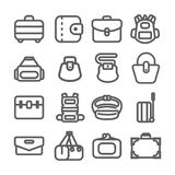 Bag icons set. Set of bag icons. Gray bags line icon for your work royalty free illustration