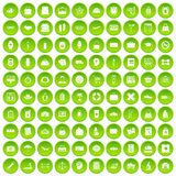 100 bag icons set green circle. Isolated on white background vector illustration Royalty Free Stock Photography
