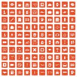 100 bag icons set grunge orange. 100 bag icons set in grunge style orange color isolated on white background vector illustration Royalty Free Stock Photography