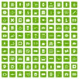 100 bag icons set grunge green. 100 bag icons set in grunge style green color isolated on white background vector illustration Stock Illustration