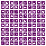 100 bag icons set grunge purple Royalty Free Stock Photography