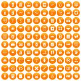 100 bag icons set orange. 100 bag icons set in orange circle isolated on white vector illustration Royalty Free Stock Image