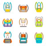 Bag icons set. Pupil s Colorful Backpacks Set. School tourist multicolored backpacks in a flat style isolated on white background. Bag icons set stock illustration