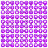 100 bag icons set purple. 100 bag icons set in purple circle isolated on white vector illustration Stock Photos