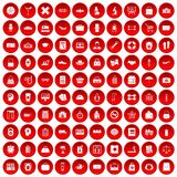 100 bag icons set red. 100 bag icons set in red circle isolated on white vector illustration Royalty Free Stock Photography