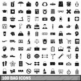 100 bag icons set, simple style. 100 bag icons set in simple style for any design vector illustration vector illustration