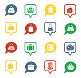 Bag icons in speech bubbles for app Royalty Free Stock Images