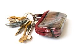 Bag with keys Royalty Free Stock Photo
